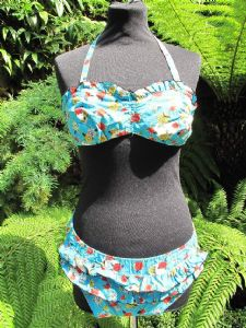 1960's Turquoise floral print cotton vintage bikini by Minster **SOLD**
